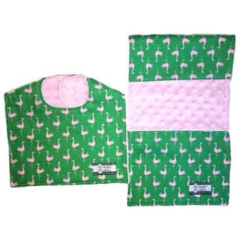 Bib and Burp Cloth Set - Flamingos on Pink