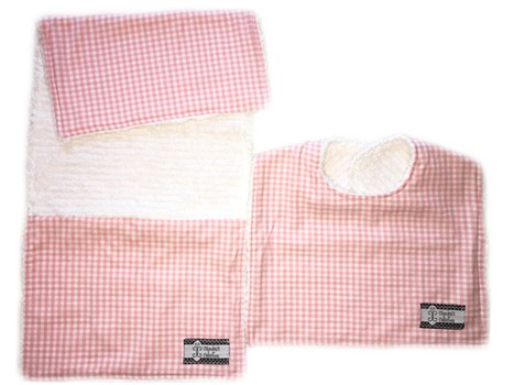 Bib and Burp Cloth Set - Baby Pink Gingham