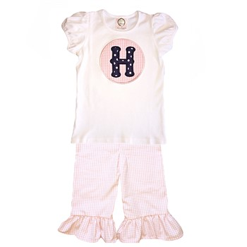 Ruffle Pants Letter Applique Set- Pink Gingham