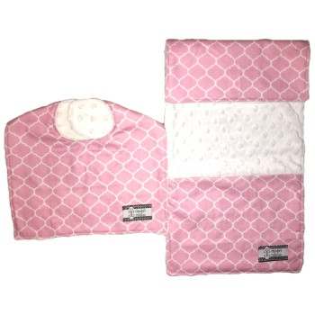 Bib and Burp Cloth Set - Pink Lattice