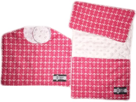 Bib and Burp Cloth Set - Hot Pink Anchors on White