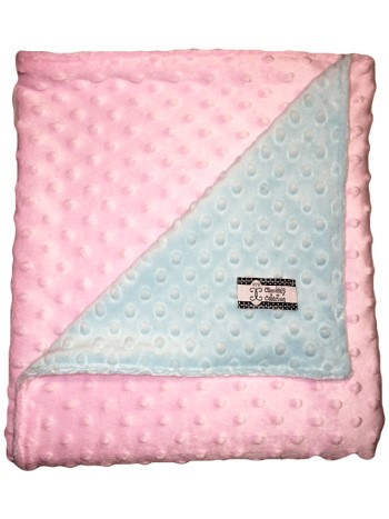 Stroller Blanket - Pink and Aqua Dimple Dot MInky