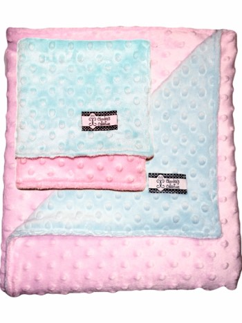 Minky Gift Set- Aqua and Pink Lovie and Stroller Blanket