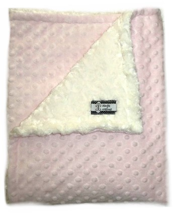 Stroller Blanket - Pink Dimple Dot and Cream Swirl Minky