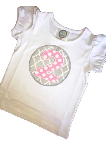 Birthday Tee - Pink Dots on Gray Lattice