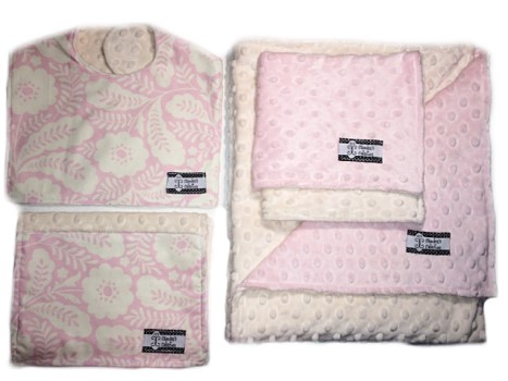 4-Piece Gift Set- Pink Floral Pink Bib, Burp, Lovie, and Stroller Blanket