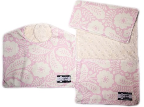 Bib and Burp Cloth Set - Pink Floral on Cream