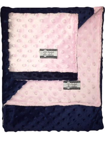 Minky Gift Set- Pink and Navy Lovie and Stroller Blanket