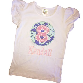 Birthday Tee - Pink Circles on Blue Floral