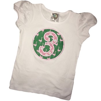 Birthday Tee - Pink Polka Dots on Flamingos