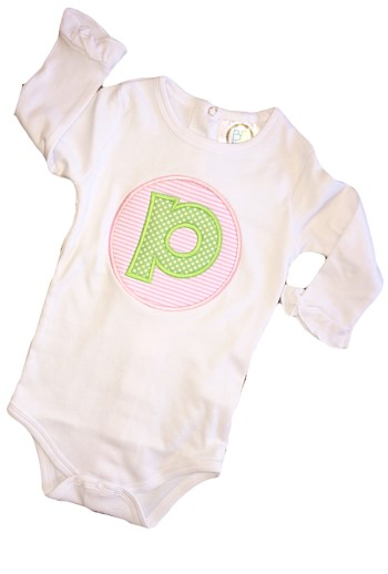 Monogrammed Letter Applique Tee - Green Dots on Pink Seersucker OR Green Houndstooth on Blue Seersucker