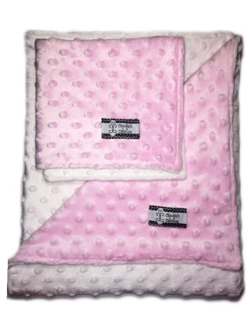 Minky Gift Set- Pink and White Lovie and Stroller Blanket