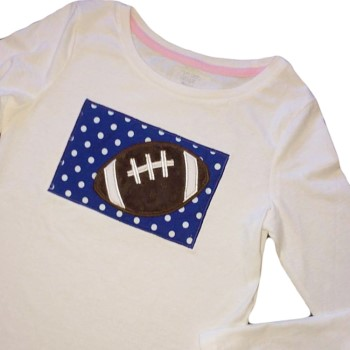 Applique Tee - Football on Choice Polka Dot Color