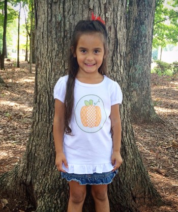 Preppy Pumpkin Tee- Girls Polka Dot and Lattice Orange Pumpkin on Olive Green Fish Tale Curls