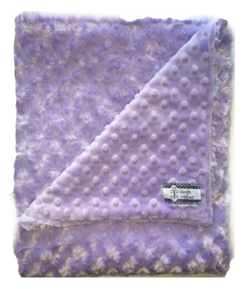 Stroller Blanket - Purple Minky Dot and Purple Swirl