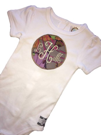Monogrammed Tee - Purple Blossoms
