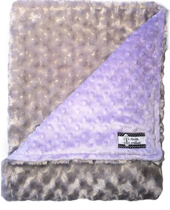 Stroller Blanket - Purple Minky Dot and Gray Rose Swirl
