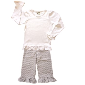 Ruffle Pants Basic Set- Tan Seersucker