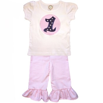 Ruffle Pants Birthday Set- Pink Gingham