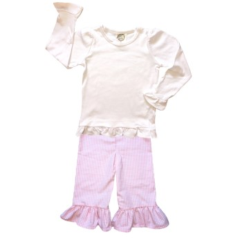 Ruffle Pants Basic Set- Pink Gingham
