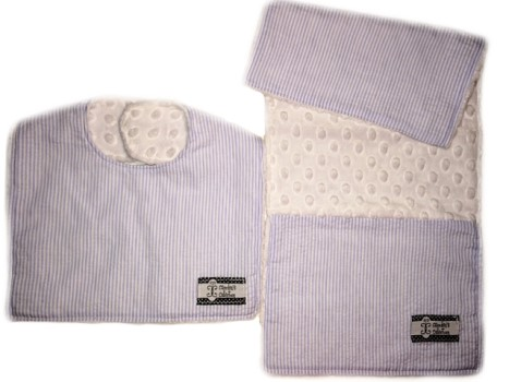 Bib and Burp Cloth Set - Baby Blue Seersucker