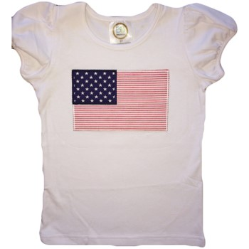 Holiday Tee - Red Seersucker American Flag Girl Tee