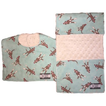 Bib and Burp Cloth Set - Sock Monkey