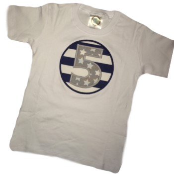 Birthday Tee - Gray Stars on Navy Stripes