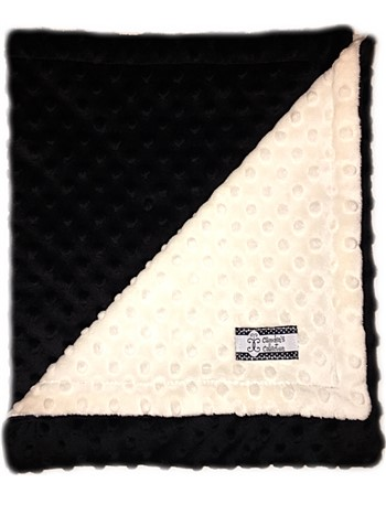 Stroller Blanket - Black and Cream Minky Dimple Dot