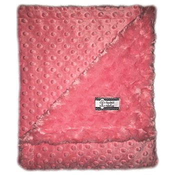 Stroller Blanket - Coral Minky Swirl on Coral Dimple Dot Minky