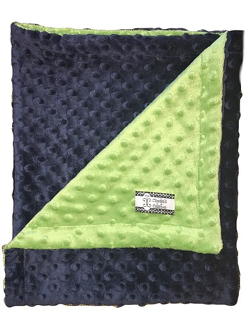 Stroller Blanket - Navy Minky Dimple Dot with Kelly Green Dimple Dot