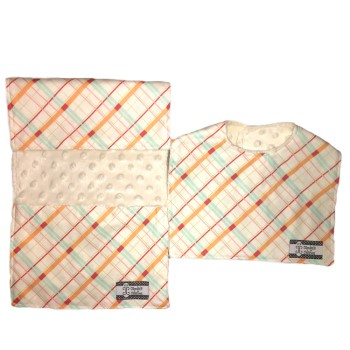 *Bib and Burp Cloth Set - Summer Plaid