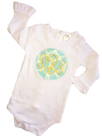 Monogrammed Tee - Gold on Aqua Tazo