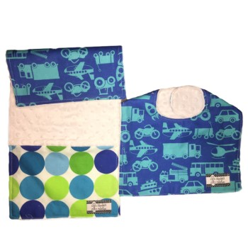 *Bib and Burp Cloth Set - Transportation