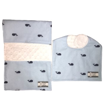 *Bib and Burp Cloth Set - Whales