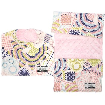 *Bib and Burp Cloth Set - Whimsy Floral