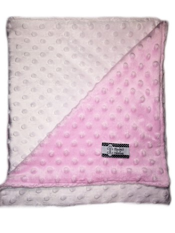 Stroller Blanket - Pink and White Dimple Dot Minky